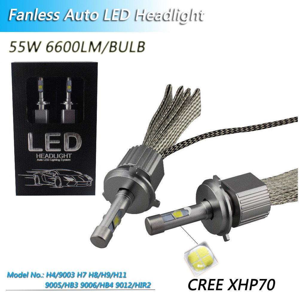 Fanless Canbus <font><b>H7</b></font> <font><b>LED</b></font> Auto Headlight Bulbs <font><b>Cree</b></font> <font><b>xhp70</b></font> Chip <font><b>LED</b></font> Conversion Kit Plug&Play H1 H8 H11 9005 9006 Automotive Headlamps image