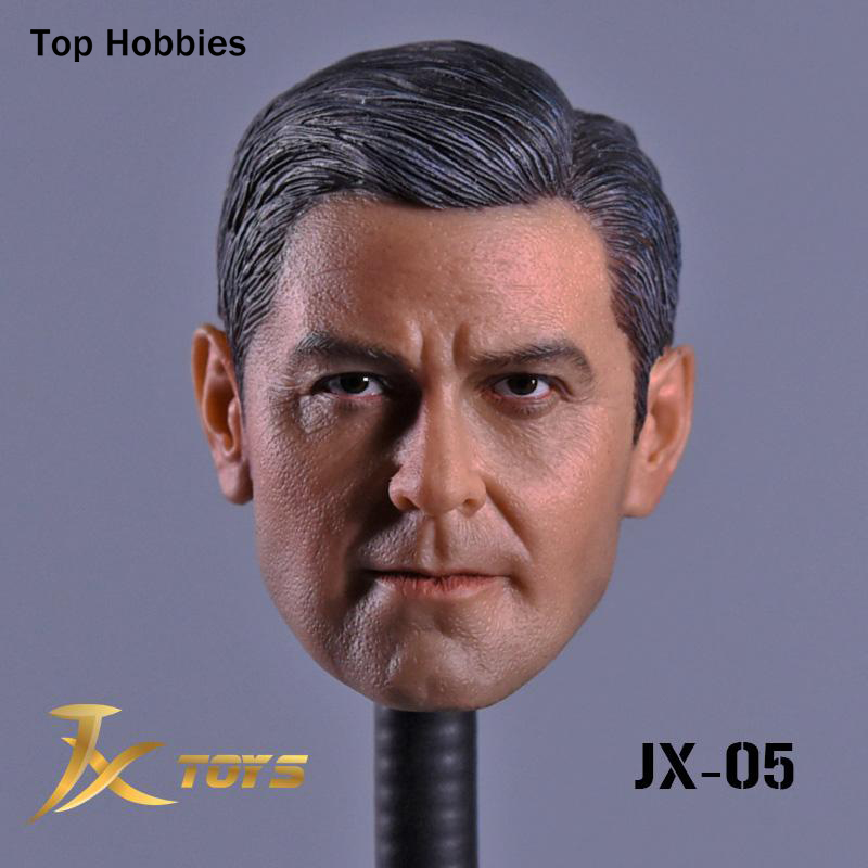 JXtoys-05 1/6 Scale Male Head accessories carving Sculpt George Clooney Model Fit 12  Inch Phicen Action figure Doll Toys 1 6 male head sculpt leonardo wilderness hunter hair head carving for12 action figure body doll toys accessories