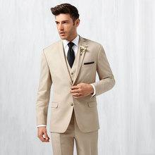 Summer Khaki Men Suits for Beach Wedding Blazers Groom Tuxedo 3Piece (Jacket Pants Vest)Costume Homme Slim Terno Masculino
