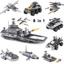 цены COGO 8 in 1 Military serise Aircraft Helicopter Tank Warship Chariots Fighting Vehicle Car Building Blocks Toys for boys gift