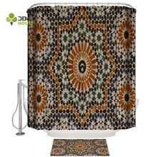 Dearhouse patrón marroquí Vintage Retro Cortina de ducha juegos de alfombrillas de baño accesorios exteriores anillos modernos de mujer divertidos