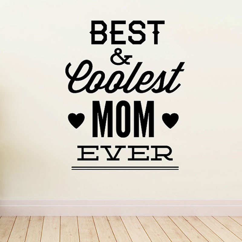 Best & Coolest Mom Ever Mothers Day Wall Decal Vinyl Art Home Decor Quote Festival Decoration Wall Sticker Removable Murals MD08 image