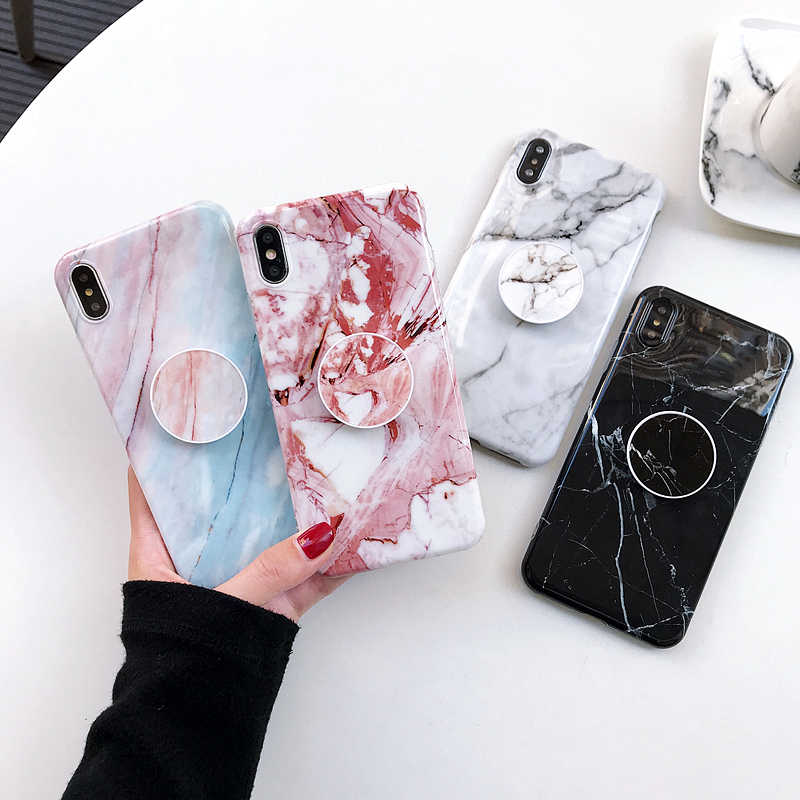 <font><b>Original</b></font> Marble <font><b>Silicone</b></font> <font><b>Case</b></font> For <font><b>iPhone</b></font> 11 Pro Xs Max <font><b>X</b></font> Xr Shell Folding Bracket Designed Soft Cover For <font><b>iPhone</b></font> 6 6s 7 8 Plus image