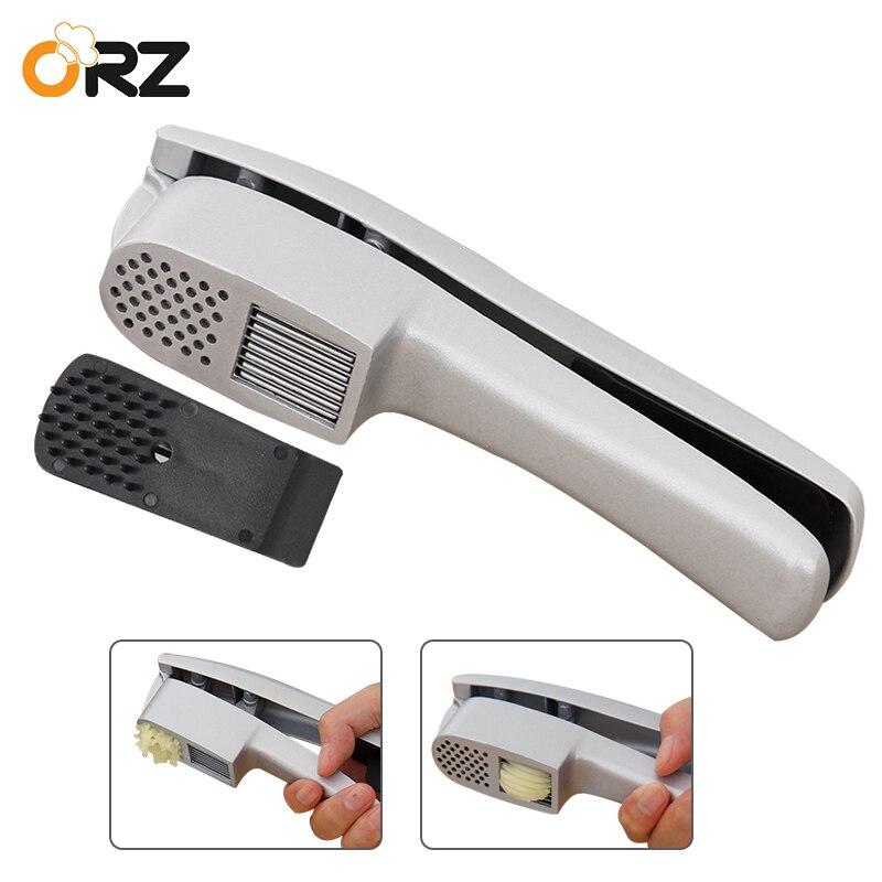 ORZ 2 In 1 Kitchen Garlic Press Slicer Cutter Heavy Duty Aluminium Manual Ginger Garlic Chopper