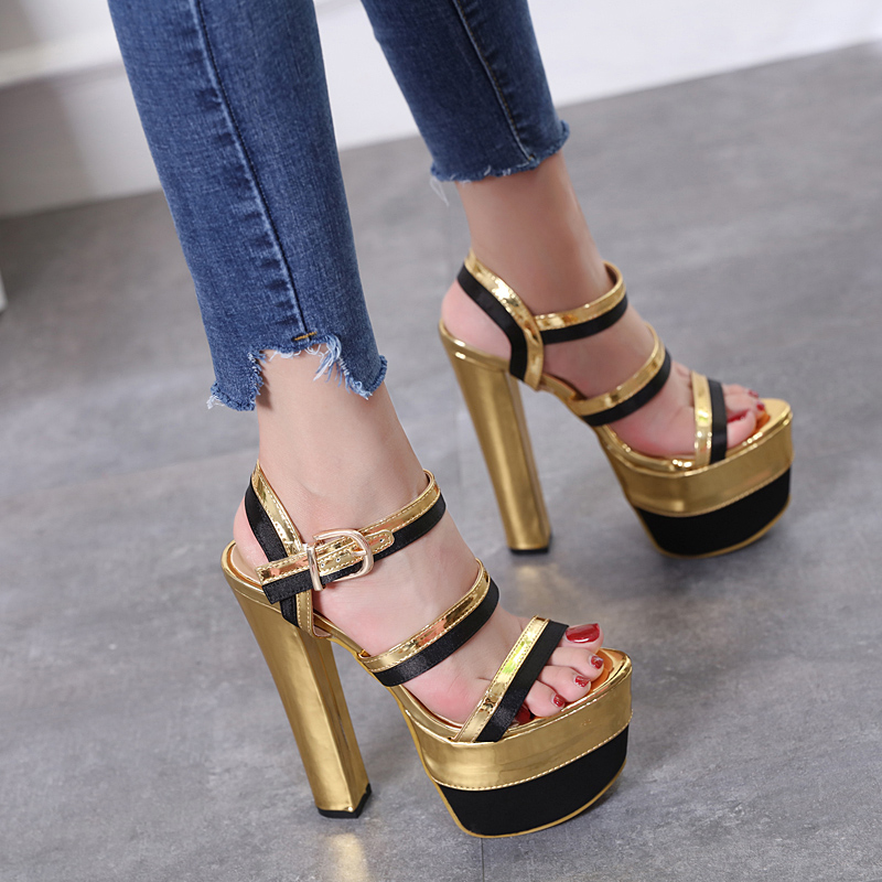 16cm stage performance shoes nightclub waterproof platform thick with gold fish mouth female sandals fashion.16cm stage performance shoes nightclub waterproof platform thick with gold fish mouth female sandals fashion.