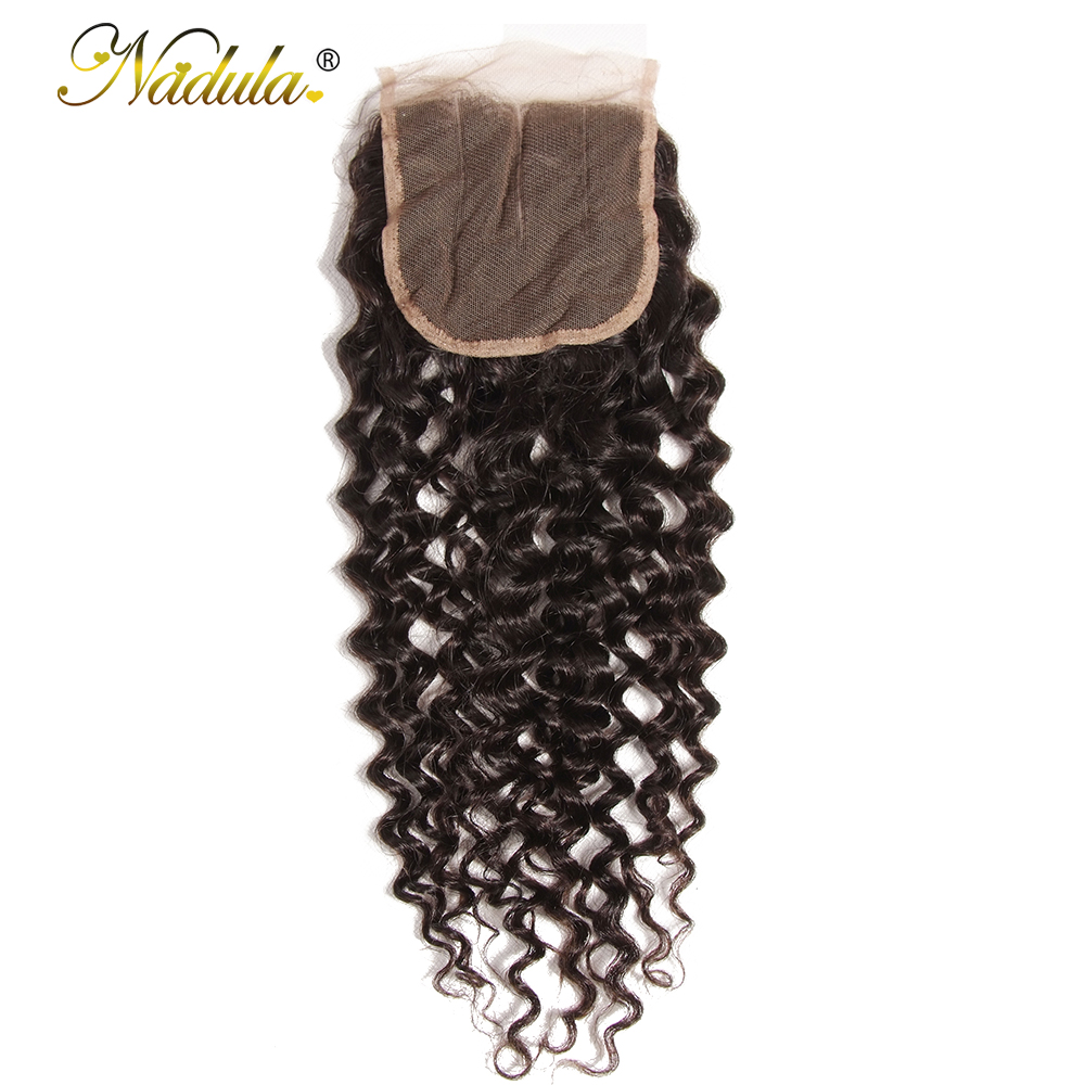 Nadula Hair 4 4 Free Middle Three Part Closure Brazilian Curly Hair Weave 10 20inch Remy