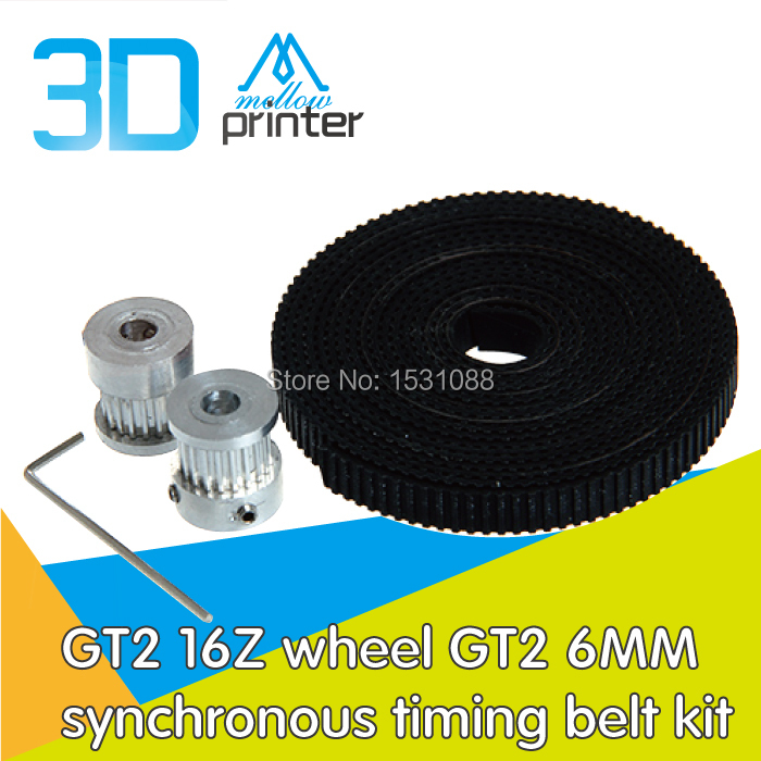3D printer accessories GT2 16Z wheel timing pulley GT2 6MM synchronous timing belt kits aluminum rubber suit opening