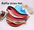 Nuevas mujeres del verano sunbonnet sombrero, rafia paja sun beach cap, sombrero grande del borde, múltiples colores, envío gratis por correo aéreo de China