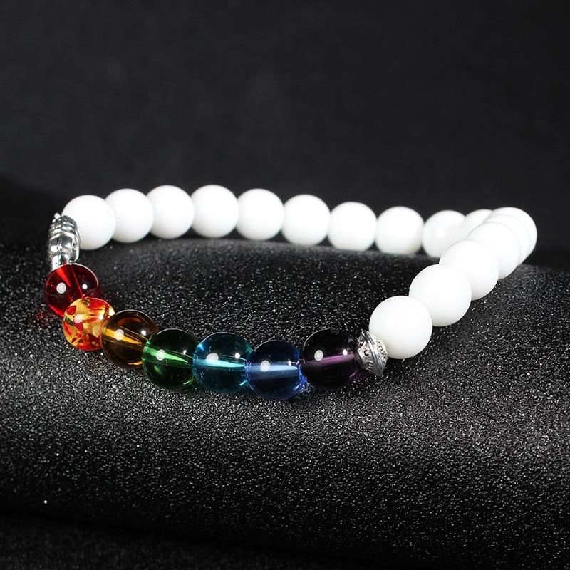 ISINYEE Fashion Candy Color Elastic Rope 7 Chakra Bracelets For Women Men Handmade Elephant Natural Stone Bracelet Jewelry 1