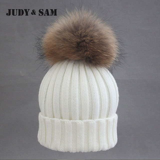 Brand Style Huality 100% Merino Wool Beanie Hats with Fluffy Real Natural Raccoon Fur Pom Poms 3 Colors Winter Beanies for Women