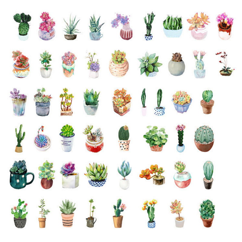 50pcs/pack Succulents Plants Small Paper Sticker Decoration Label Bookmark Dress Up For Notebook