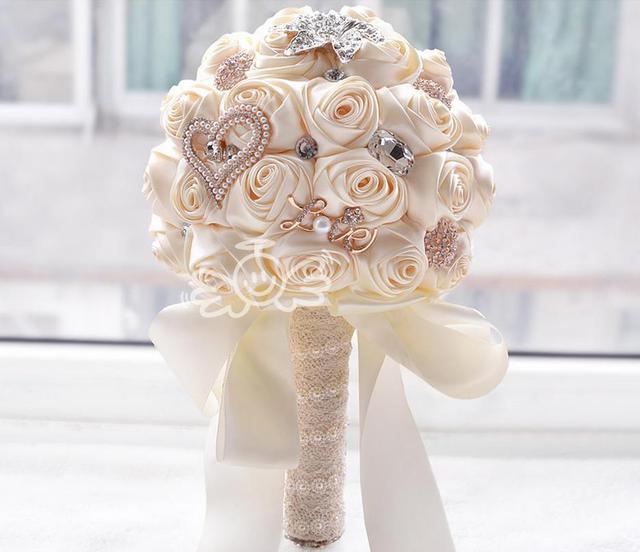 2016 hecho a mano Romántico rosa Ramo de La Boda la Novia y de alto grado de cristal lirio taladro adorno Wedding Bouquets