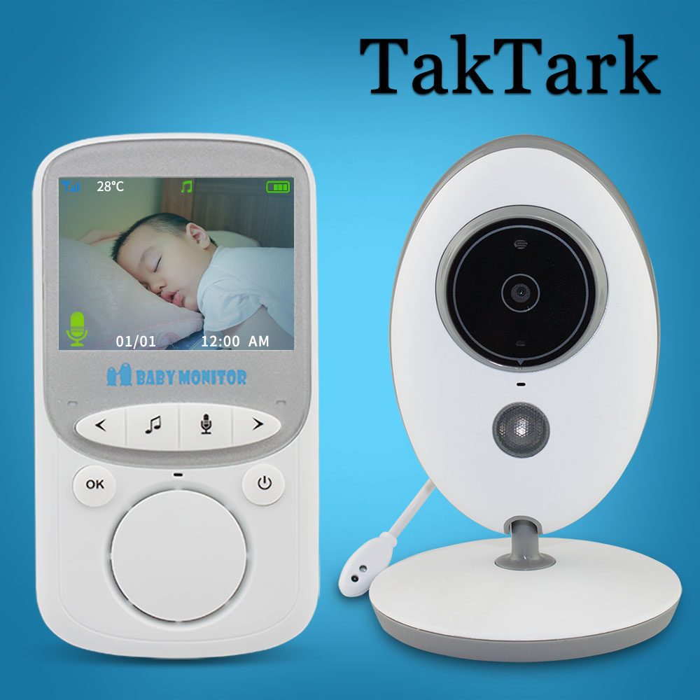TakTark 2,4 pulgadas Wireless Baby Monitor Video cámara a Color intercomunicador noche visión control de temperatura niñera, niñera.
