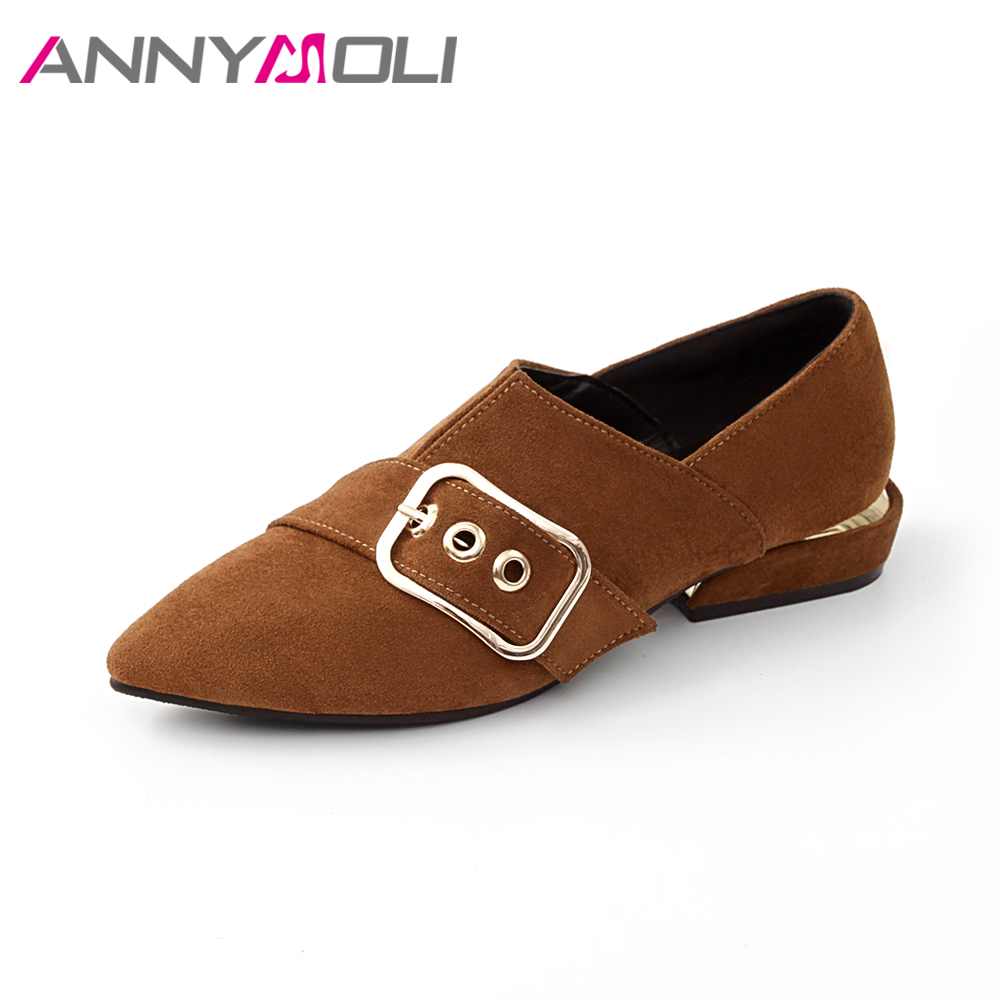 ANNYMOLI Flats Shoes Women Pointed Toe Spring Shoes Slip On Flats Metal Buckle Flat Shoes Size 34-43 Brown Autumn Shoes Black beyarne spring summer women moccasins slip on women flats vintage shoes large size womens shoes flat pointed toe ladies shoes
