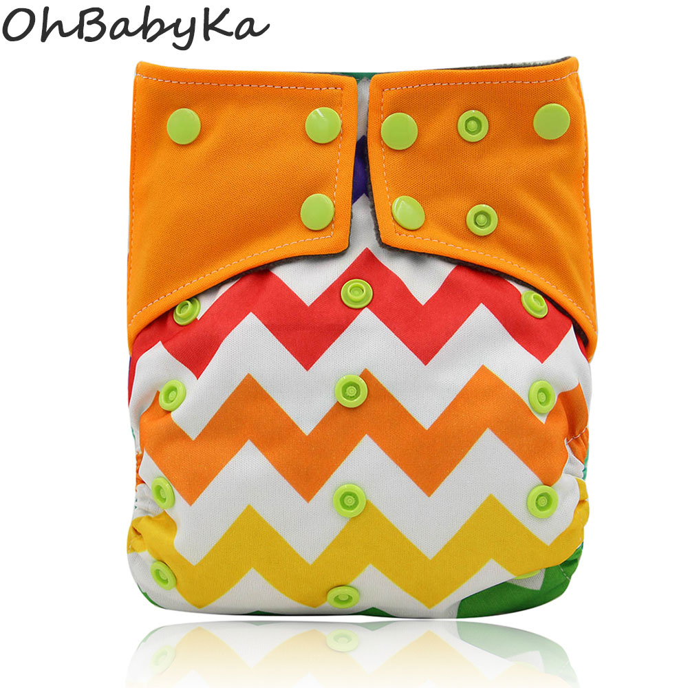 Ohbabyka AIO Diaper Couche Lavable Bamboo Charcoal Washable Diapers Reusable Cloth Nappies Striped Waterproof Newborn Diaper