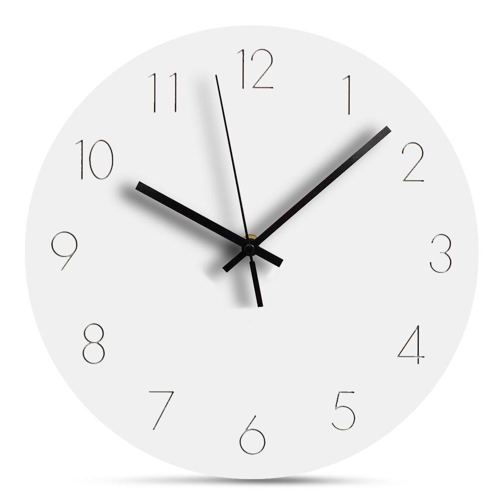 Europe Wooden Wall Clock Modern Design Digital Wall Clock Silent Decorative Wall Clock White Round Hanging Clocks Home Decor