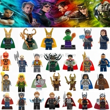 Super Hero Marvel Hela Valkyrie Thor Figures Set Ragnarok Loki Building Blocks Toys For Children Legoing infinity war Avengers(China)