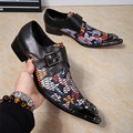 New Fashion 2017 Men's Fashion Genuine Leather with Crocodile Skin Oxfords Colorful Floral Printing Wedding Party Shoes Big Size