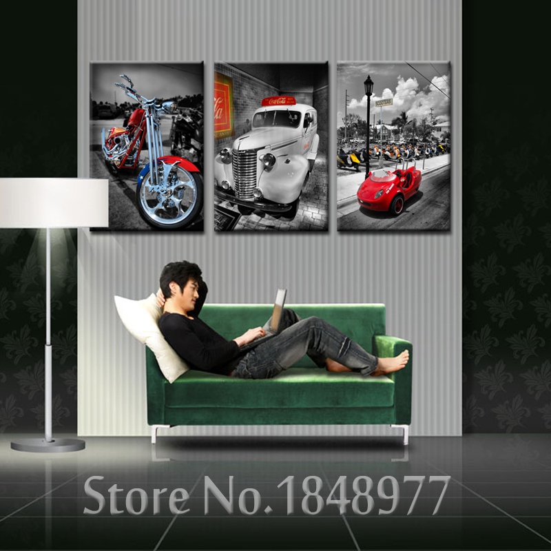 3 panel moderno impreso coche pintura cuadros decoracion motocicleta ...