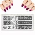 Дизайн ногтей Нового Ногтей Штамповки Плиты Кружева Бабочка Кристалл Pattern Stamp Польский Нержавеющей Nail Art Шаблоны Здоровье Красота 2016