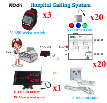 Wireless Emergency Button System Emergency Pager 1 Display K-4-C-USB 3pcs Wrist Watch 20 Corridor Light 20 Pull Call Button