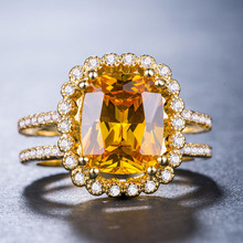 Emerald ring Sapphire rings Crystal amethyst Diamond Gold costume jewelry Indian Gold-plated with zircon B1096