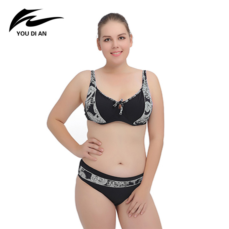 2018 New Plus Size Swimsuit Push Up Bathing Suit Beach Bikini Swimwear Women Sexy Plus Size Bikini Set push up color block plus size bikini set