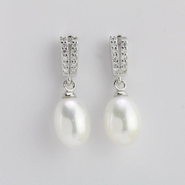 Bridal Pearl Drop Earrings Clic Crystal 9mm White Dangling Women Wife Friend Gift Natural Earring