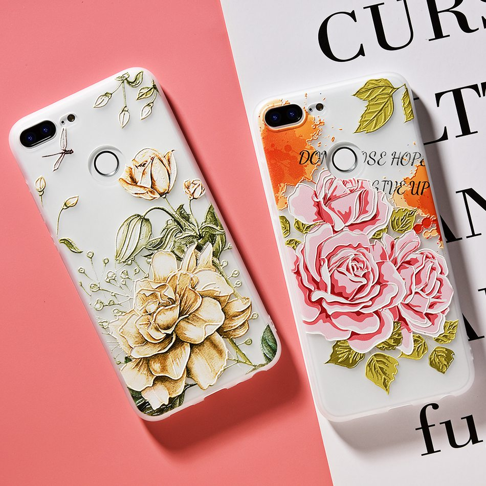 3D Relief Flower TPU Case For On Honor 9 9 lite Soft Silicone Case Back Cover Case for Huawei P20 P10 lite NOVA 2 Case           (10)