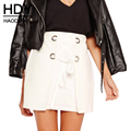 HDY Haoduoyi 2017 Fashion Drawstring Skirts Women High Waist Female A-line Skirts Street Solid White Ladies Bodycon Skirts