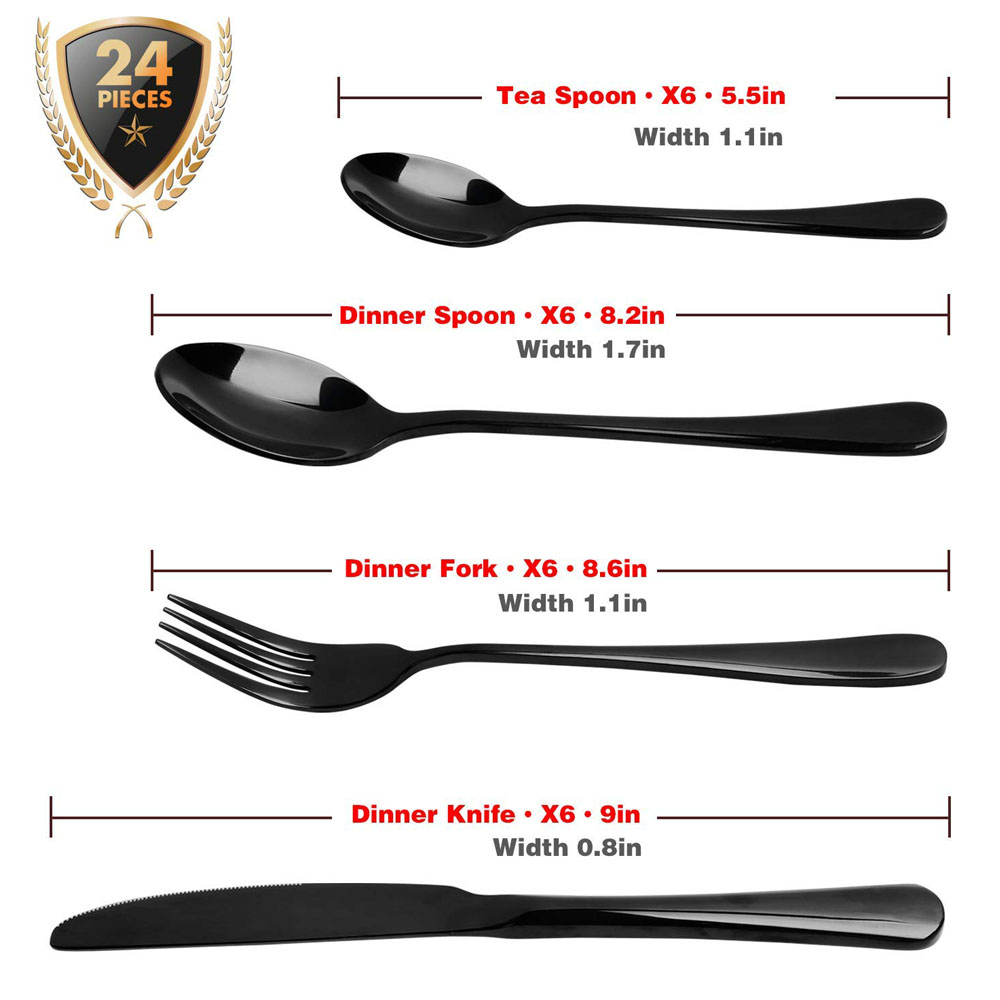 24 PCS Dinnerware Set Black Gold Stainless Steel Flatware Sets Tableware Cutlery Spoon Set Party Supplies Kitchen Wood Gift Box