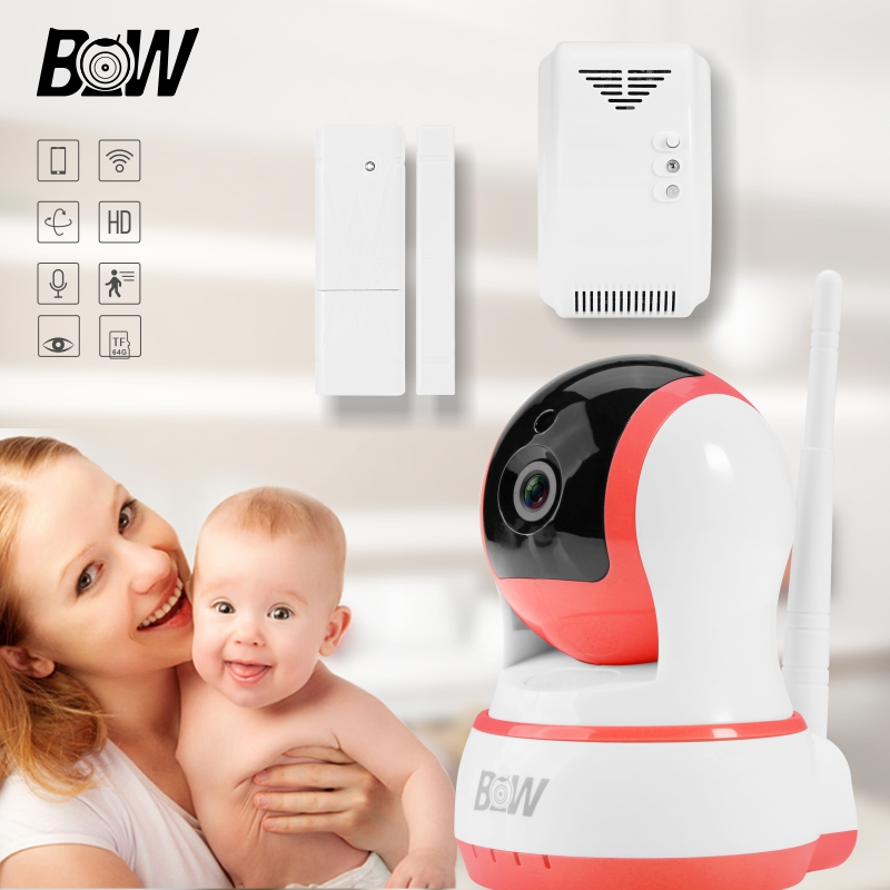 WiFi IP Camera + Sensor Detector Video Surveillance Camera Wireless Monitor Home Protection Security Alarm System BW13P wireless security camera wifi motion sensor ip baby monitor door sensor gas detector video surveillance alarm system bw12y