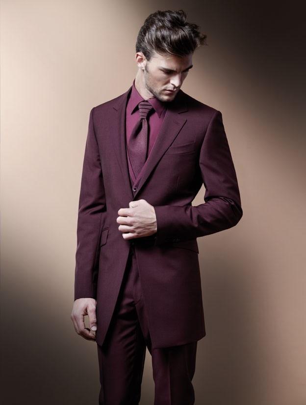 Abito Matrimonio Uomo Rosso : Moda sposo lungo style vino rosso promenade vestiti smoking