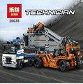 LEPIN 20035 631 Unids Nueva Serie Técnica Los Camiones de Contenedores y Cargadores de Juego de Bloques de Construcción Ladrillos de Juguetes Educativos 42062