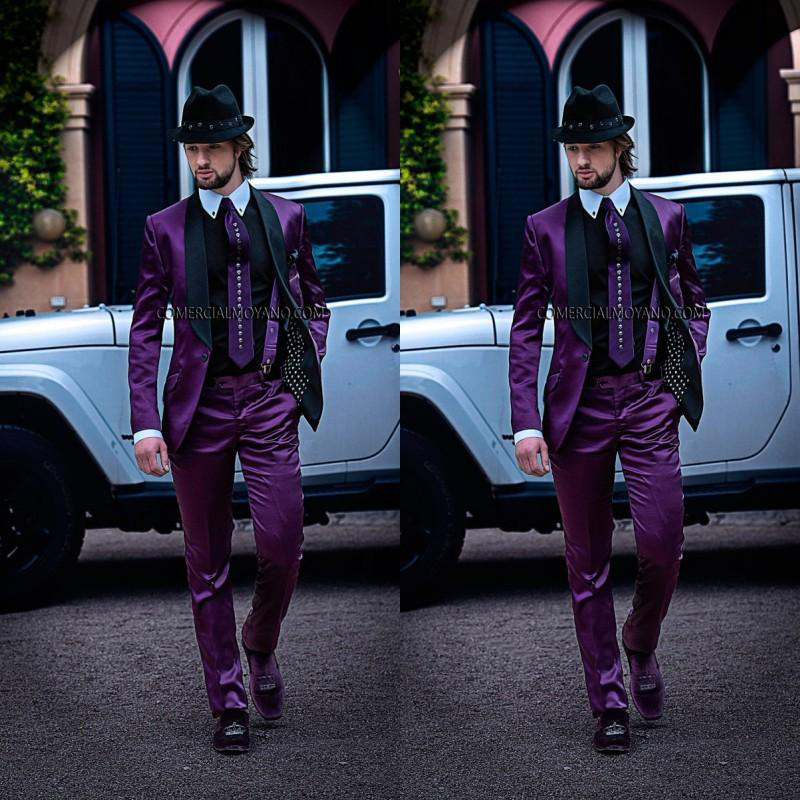 Custom Made Italian Mens Suits Purple Blazer Black Lapel Wedding Tuxedos Jacket+Pants Formal suits men Suits Groomsmen Costumes