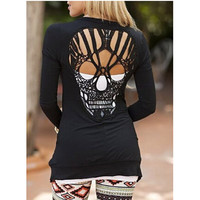 2016 New Autumn Women Girls Casual Long Sleeve Cardigans Sexy Black Skull Heads Hollow Out Cardigans