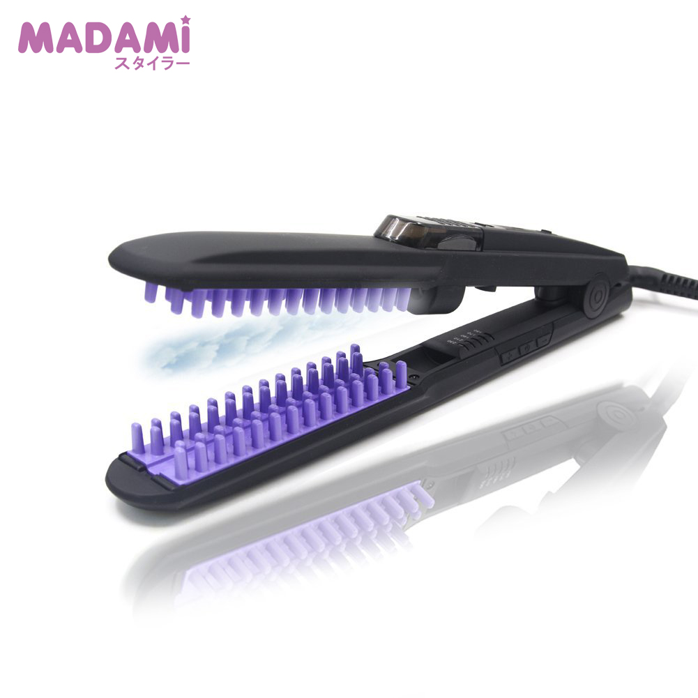 Madami Atomized Steam Spray Hair Straightener Brush Ceramic Brush Anti-Scald Ionic PTC Faster Heating System Anion Flat Iron 2017 new hot sale professional salon ptc heating white color ceramic negative ions steam automatic hair curler hair style tools