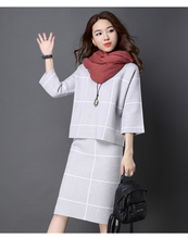 Women Knit 2 Piece Sets Autumn Winter Casual Long Sleeve Pullover Sweater Tops+Knitted SKirt Female Elegant Office Skirt Suit