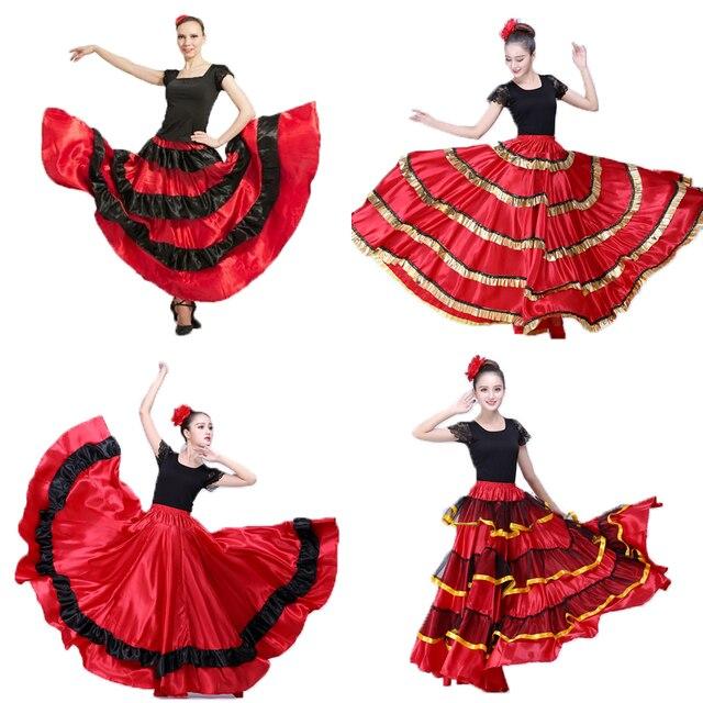 3b86a1540 € 10.7 38% de DESCUENTO|Plus tamaño dama Flamenco español falda trajes ropa  para las mujeres negro rojo español corrida de toros Festival ropa de ...