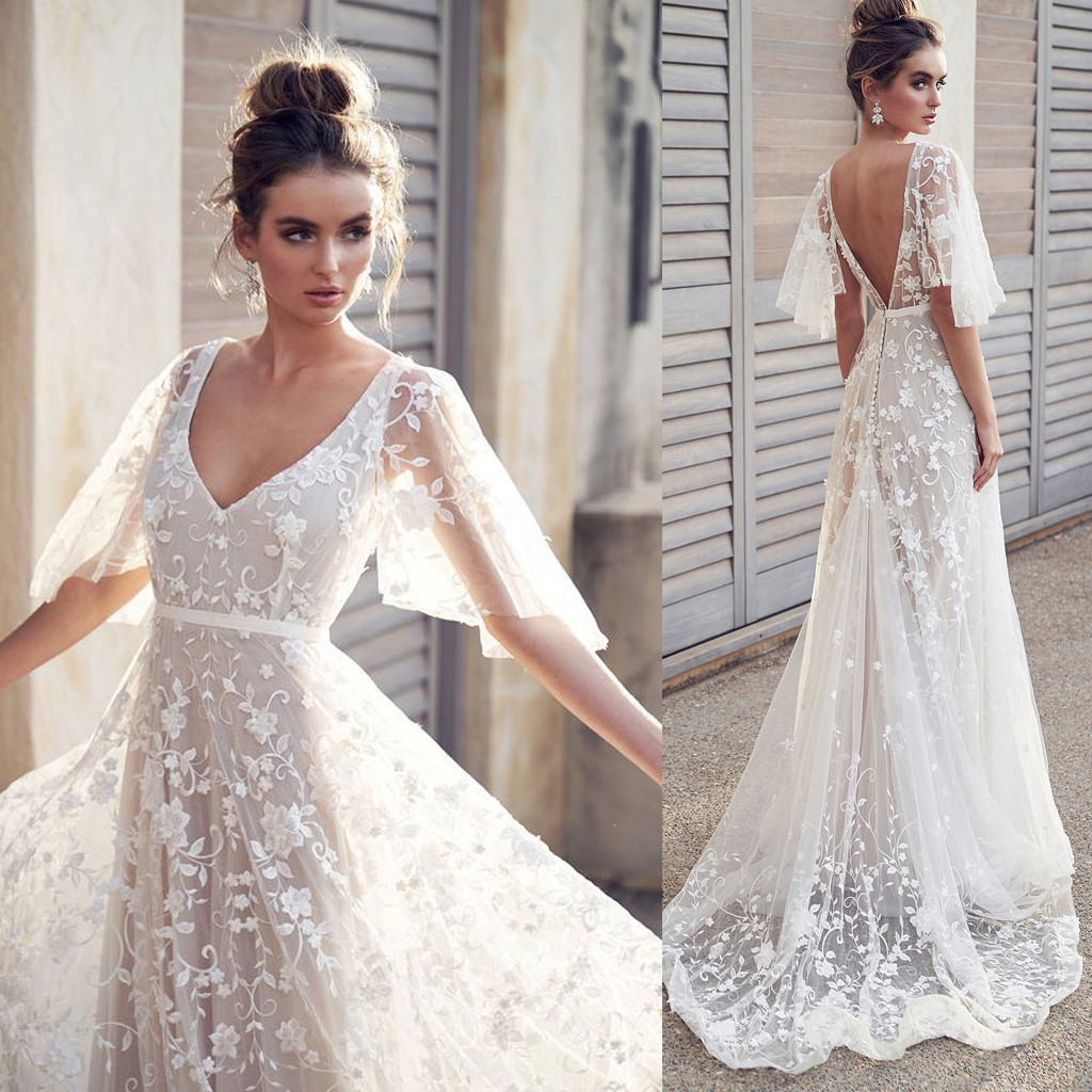 Vintage Lace Wedding Dresses: Vestidos 2019 Women's Dresses Summer Dress Sexy Womens V