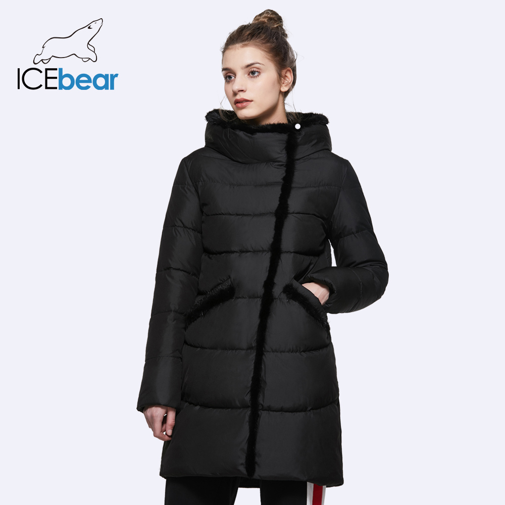 ICEbear 2018 Women's Mid-Long Winter Jacket Stand Collar Hooded Design Fur Collar Warm Practical Big Pocket   Parka   17G6116D