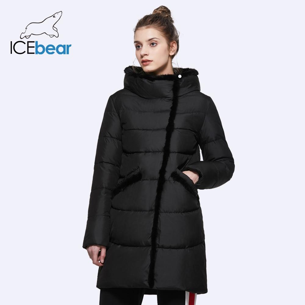 ICEbear 2018 Women's Mid-Long Winter Jacket Stand Collar Hooded Design Fur Collar Warm Practical Big Pocket   Parka   17G6116D