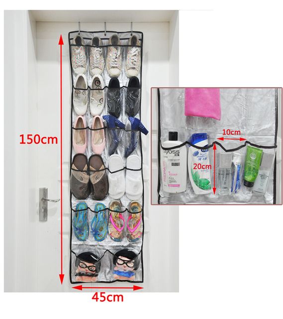 Non Woven Shoe Storage Hanging Bag Shoe Holders Wall Door Hanging Organizers  Rangement Chaussure 1PC