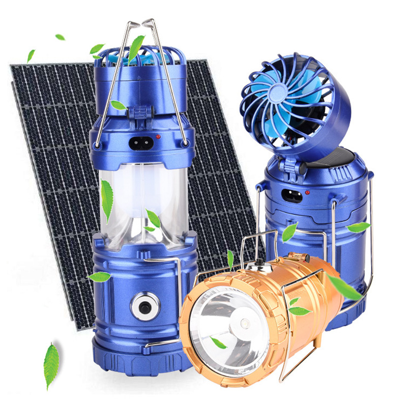 Multi-function Solar Portable Lanterns with Mini Fan Rechargeable LED Camping Light Table Lamp 110V/220V US/EU Plug--M25