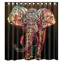 Elephant Decor Ethnic Tribal Celestial Indian Custom Shower Curtain Waterproof Bathroom Popular To Fit Bath Tubs