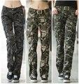 Mulheres Roupas casuais calças calças retas femininos calças de Camuflagem militar de carga multi-bolso macacão de verão