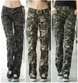 Women Clothing casual cargo pants straight pants female Camouflage military pants multi-pocket summer overalls