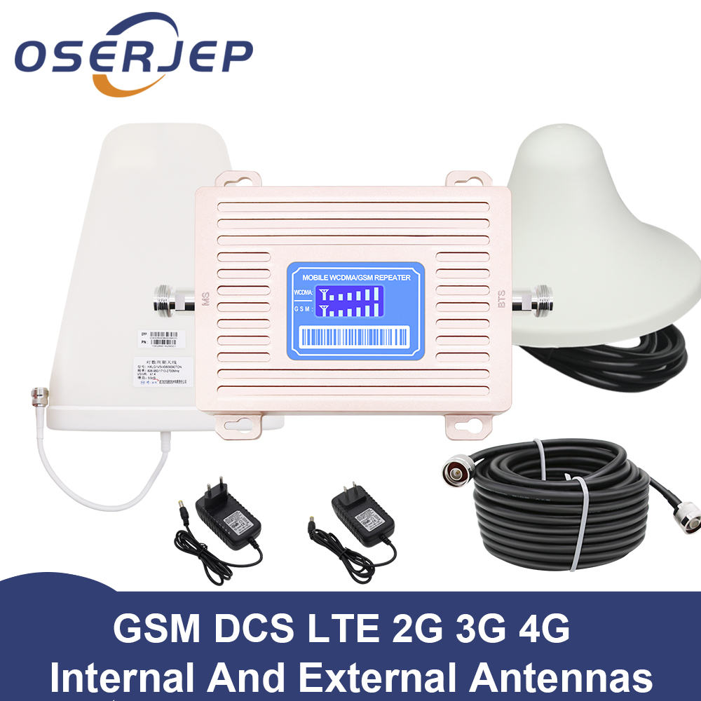 LCD Display GSM 900 UMTS 1800 mhz Dual Band Repeater 2G 3G 4G LTE Phone Amplifier Cellular Mobile Booster +LPDA /Ceiling Antenn 1