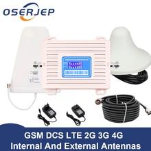 LCD תצוגת GSM 900 UMTS 1800 mhz Dual Band משחזר 2G 3G 4G LTE טלפון מגבר נייד נייד בוסטרים + LPDA/תקרת Antenn