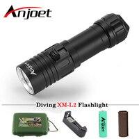 Anjoet Diving Flashlight XM L2 1 Mode Lamp IPX8 Scuba Lantern Led Underwater Dive Torch 18650